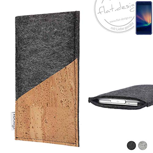 flat.design Handy Hülle Evora für Hisense A2 Pro handgefertigte Handytasche Kork Filz Tasche Case fair dunkelgrau
