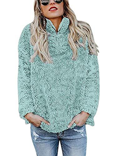 Minetom Damen Sweatshirt Hoodie Pullover Teddy Fleece Stehkragen Langarm Einfarbig Warm Winter Sweatjacke Oberteil Mode Mantel A Grün DE 44