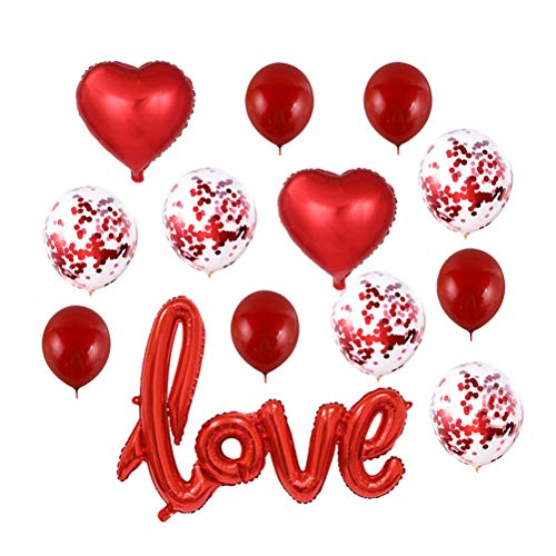 Toyvian Ame los Globos de la decoración, 13pcs Globos de látex Brillantes para la Fiesta del Festival del día de San Valentín