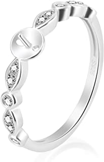 Antique Rings Fitting for Women 925 Sterling Silver, Simple Cubic Zircon Design Rings for Women Pearl Jewelry Making