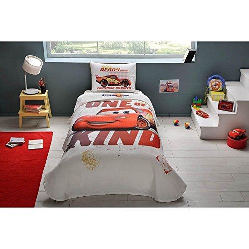 TAC 3-Piece Disney Cars Piston Cup Licensed Cartoons Bedspread Coverlet (Pique) Set, 100% Pure Cotton Luxury, Children Teenager Single Size