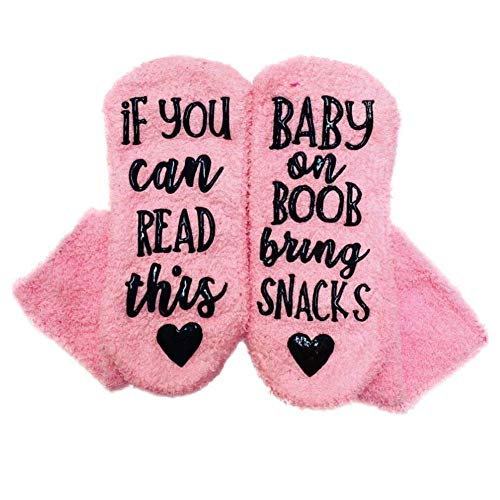 Breastfeeding Gift - If You Can Read This, Baby On Boob Bring Snacks- New Mom Gift- Nursing Socks