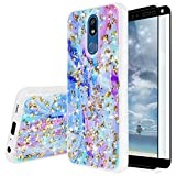 TJS Phone Case Compatible with LG K40/K12 Plus/X4/Solo LTE/Harmony 3/Xpression Plus 2, [Full Coverage Tempered Glass Screen Protector] Shiny Marble Glitter Back Skin Full Body Softr Bumper (Colorful)