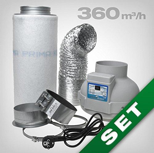 GrowPRO® Aktivkohlefilter Lüftungsset inkl. Rohrventilator 230/360 m³/h AKF Belüftungsset für Growbox/Homebox