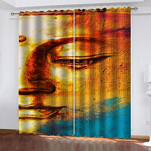 Blackout Curtains for Bedroom Creative Buddha Statue Total size:104' wide x 95.3' drop (264cm x 242cm) Super Soft Grey Bedroom Eyelet Curtains Drop Noise Reduce Panels for Nursery for Home Decoration。