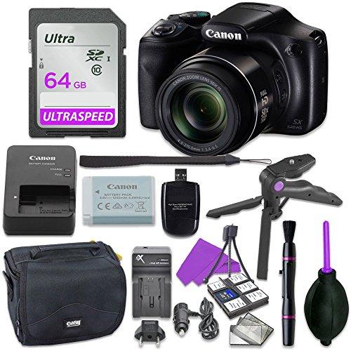 Canon Powershot SX540 Point & Shoot Digital Camera Bundle w/Tripod Hand Grip, 64GB SD Memory, Case and More
