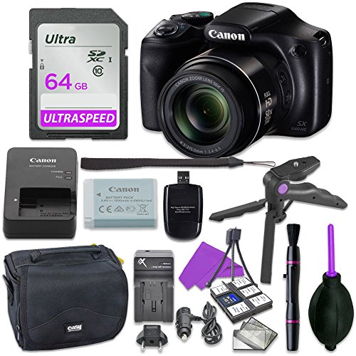 Canon Powershot SX540 Point & Shoot Digital Camera Bundle w/Tripod Hand Grip, 64GB SD Memory, Case and More