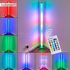LED-vloerlamp Laugar in nikkel-mat met witte plastic buis, 6 watt, 120 cm hoogte, vloerlamp met RGB kleurwisselaar en afstandsbediening*