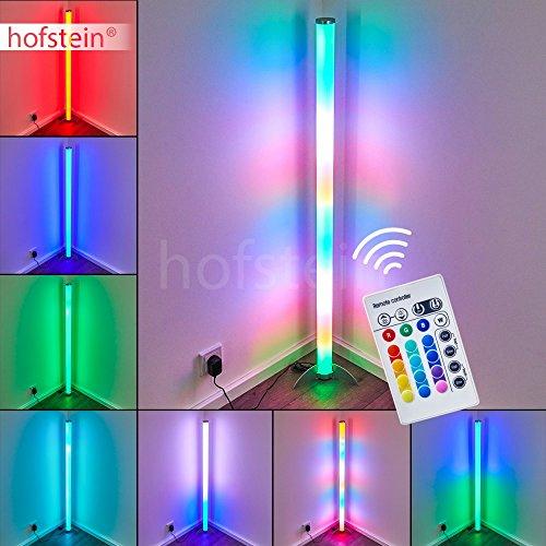 LED Stehlampe Laugar aus Metall in Nickel-matt mit weißer Kunststoffröhre, 6 Watt, 120 cm Höhe, Stehleuchte mit RGB Farbwechsler und Fernbedienung