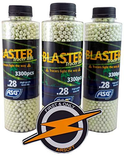 ASG Airsoft Gun Blaster Tracer BBS 0,28 Gramm 3300 X3 Flaschen und PVC Patch von F & O.