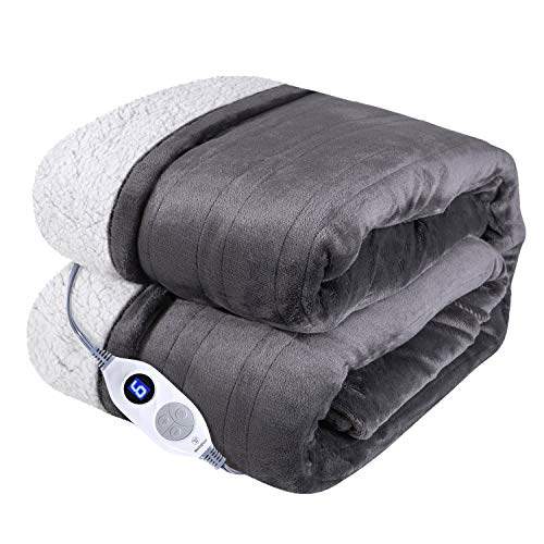 Westinghouse Electric Blanket Heated Throw Flannel to Sherpa Reversible Heating Blanket 50'x60', 6 Heat Settings & 4 Hours Auto Off, Machine Washable Charcoal Grey 50x60in