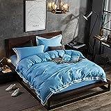 Bettwäsche-Set für den Sommer, reine Baumwolle, einfarbig, Tagesdecke, unsichtbarer Reißverschluss, Windkissenbezüge für Zuhause, 4-teilig Modern C azurblau