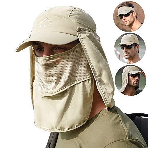 Lantch Sonnenhut Herren UV Schutz Baseball Caps Outdoor Visoren Sonnenschutz Hut Outdoor-Anglerhut Wasserdicht (Khaki)