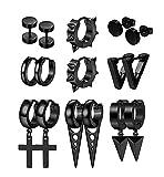 YADOCA 8 Pairs Stainless Steel Punk Earrings for Men Women