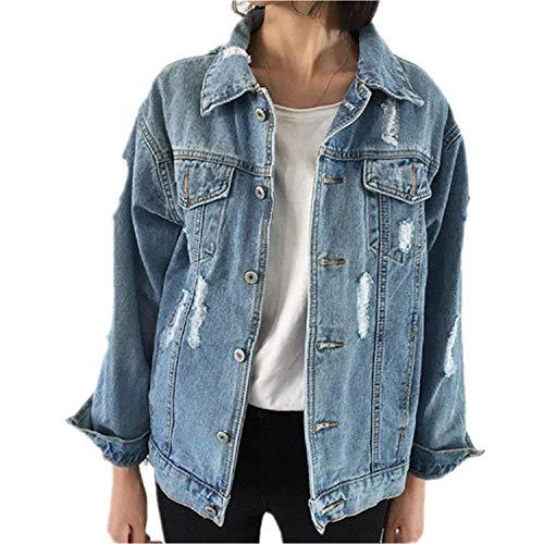 Minetom Damen Jeans-Jacke mit Patches Blouson Knopfverschluss Cut-Outs Denim Jacket Outwear Blau DE 42