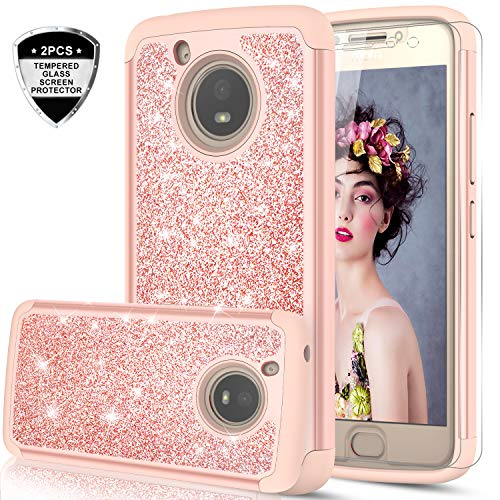 Moto E4 Case (USA Version) (Not Fit Moto E4 Plus) w/Tempered Glass Screen Protector [2 Pack],LeYi Glitter Girls Women Heavy Duty Shockproof Protective Phone Case for Motorola E (4th Gen) TP Rose Gold
