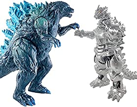 TwCare Set of 2 Godzilla Earth MechaGodzilla Figures King of The Monsters, 2021 Movable Joints Action Movie Series Soft Vinyl, Carry Bag