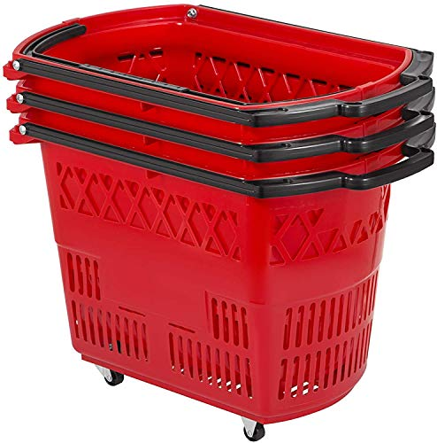 Shopping Basket Set of 6 Durable Red Plastic with Handle and Wheels for Retail Store