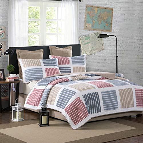 Teyun. Dreiteilige Bed Cotton Garngefärbte Hand Gesteppte Klimaanlage Summer Cool (Color : Multi-Colored)