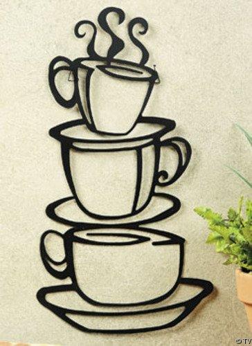 Ecloud Shop® Kaffeetasse Doppelseitig visuelle entfernbare Wand-Aufkleber-Abziehbilder Decor