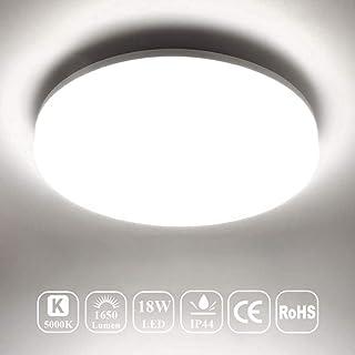چراغ سقفی سقفی Airand 5000K LED 18W 1650LM چراغ سقف گرد برای آشپزخانه ، اتاق خواب ، حمام ، راهرو ، استیل ، 9.5 '' ، ضد آب IP44 ، 80Ra ، 150W معادل (نور روز)