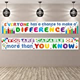 2 Pack Motivational Classroom Banner Poster Positive Banner Inspirational Banner for Students Educational Teacher Classroom Decorations Banner with 40 Glue Points (White)
