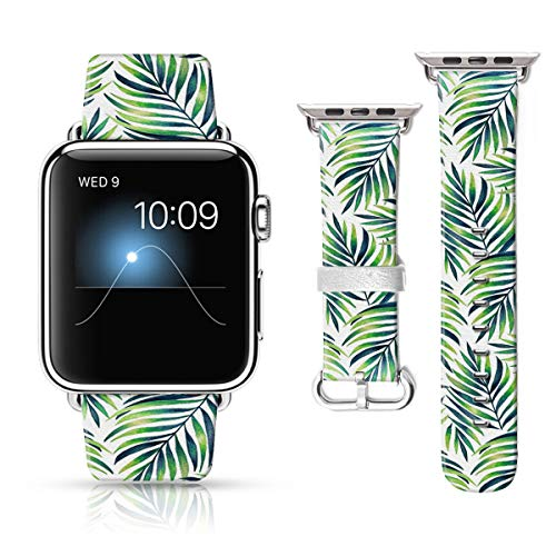 LAACO Leather Band Compatible with iWatch SE Series 6 42mm 44mm, Genuine Leather Fadeless Pattern Printed Vintage Replacement Strap Classic Bands Compatible with iWatch 6/5/4/3/2/1 Tropical Leaves