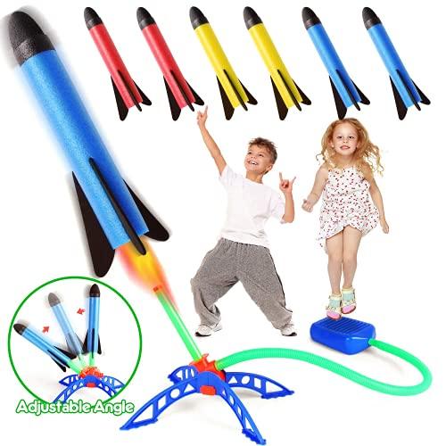 Stomp Rocket, Rakete Spielzeug, Druckluftrakete Outdoor Spiele für Kinder mit 6 Schaumstoff Raketen, Garten Spielzeug, Gartenspielgeräte Kinder Spielzeug daraußen, Geschenk Junge Mädchen 3-12 Jahre