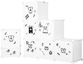 LANGRIA Armario Modular Organizador Convertible de 6 Cubos con Puertas, 1 Barra para Colgar Ropa, Pegatinas Adhesivas Decorativas, Mueble Organizador Ropa, Zapatos, Accesorios, Juguetes (Blanco)