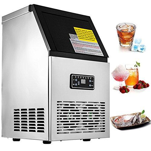 BuoQua Commercial ijsmachine, 230 W, 220 V, 50 kg, roestvrij staal, ijsblokjesmachine, voor thuis, supermarkt, café en restaurant 50 kg.