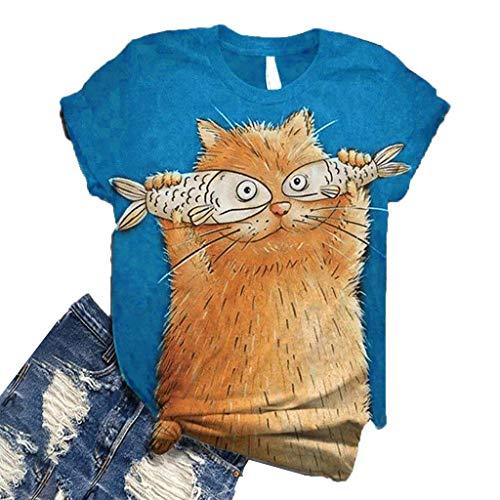 Lulupi T-Shirt Damen 3D Druck Kurzarm Shirt Lustig Animal Print Tshirt Frau Mädchen Sommer Tops Rundhals Tier Gedruckt Oberteile Tee(Katze Motiv,Blau)
