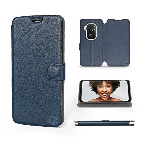 Mobiwear   Echt Lederhülle   Kompatibel mit Motorola One Zoom, Made in EU handyhülle, Slim Leather Hülle, Premium Flip Schutzhülle, Transparent TPU Silicon, Book Style, Tasche - Blaues Leder