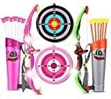 HELLO PAPAYA Archery Sets for Kids.2Sets Bow and Arrows for Kids with LED Flash Lights,2Bow 12Suction Cups Arrows 2 Target,and Quiver,3-12Years Boys and Girls Safe Shooting Games Hunting Outdoor Toys