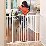 Toddleroo by North States 46.8' wide Tall & Wide Portico Arch Baby Gate: Heavy duty metal gate that's both extra wide and extra tall. Pressure Mount. Fits 28.2'-46.8' wide (36' tall, Soft White)