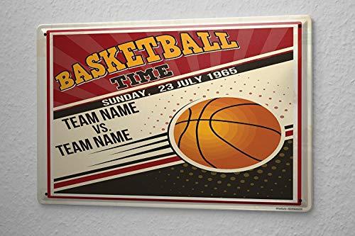 SIGNCHAT Retro Basketball Blechschild, 20,3 x 30,5 cm