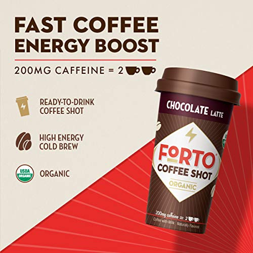 FORTO Coffee Shot - 200mg Caffeine, Chocolate Latte, Ready-to-Drink on the go, High Energy Cold Brew Coffee - Fast Coffee Energy Boost, Single Bottle Sample