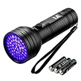 LE Lighting EVER Lampe Torche UV, 51 LED 395nm, 3 piles AA incluses, Lampe Torche Violette pour...