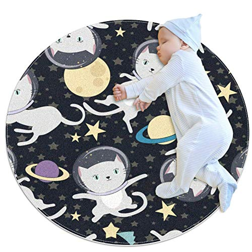 Cheap Fun Cat Astronaut in Space Baby Game Blanket, Baby Round Circular Kid Game Mat Thicken Baby Cr...