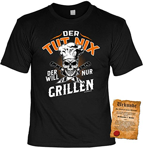 Griller Sprüche-Shirt - T-Shirt Gill-Party : Der TUT nix Der Will nur Grillen - Bekleidung Zubehör Grill Gr: 5XL