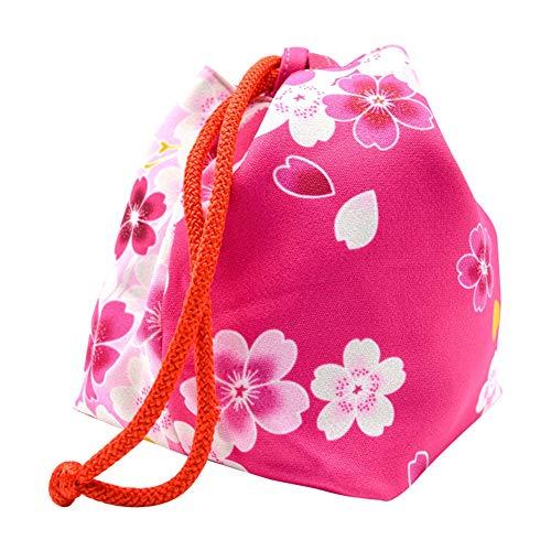 Japanische Kimono Damen Handtasche Kordelzug Eimer Tasche Geldbörsen Kirschblüte kosmetischen Schmuck Schlüsselhalter Beutel