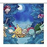 COLOUR Pokemon Duschvorhang, Badezimmer-Stoff, schimmelfrei, wasserabweisend, niedliches buntes Design, Duschvorhang, kommt mit Haken, weiß, 180 x 180 cm