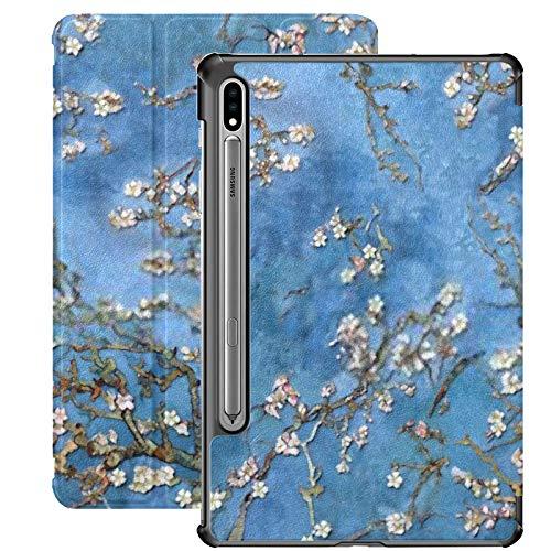 Galaxy Tablet S7 Plus 12,4-Zoll-Fall 2020 mit S-Stifthalter, 3D Wallpaper Hintergrund Mandelblüten Nahtlose schlanke Ständer Schutz Folio Fall für Samsung