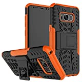 JZ Tire Pattern Funda For para Samsung S8 with [Kickstand] Shockproof Scratch-Resistant Back Cover - Orange