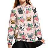 AFPANQZ Flowers French Bulldog Girls Sweaters with Front Pocket Soft Sweatshirt Youth Sports Activewear with Pocket Long Sleeves Loose Fit Tunic Size XL for Winter Fall Light Pink