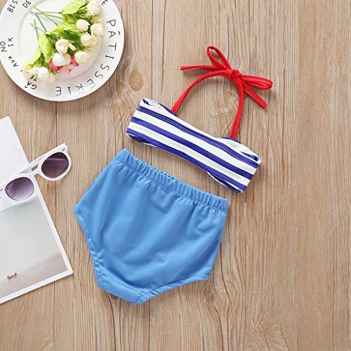 YWLINK Trajes de Baño de Dos Piezas Bebe Niña - Estampado de Rayas Sin Mangas Top + Pantalones Bikini Verano BañAdor Conjuntos