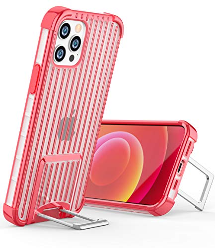 OCYCLONE [Suitcase Series] for iPhone 12 Pro Case/iPhone 12 Case, [Two-Way Stand] Anti-Slip Anti-Scratch Shockproof Protective Phone Case with Kickstand for iPhone 12/12 Pro 5G 6.1 inch - Red