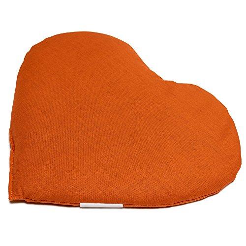 Cojín térmico en corazón 30x25 naranja | Pequeño saco térmico | Almohadilla térmica | Semillas de lino