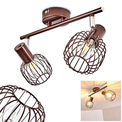 Deckenleuchte Cancun, verstellbare Deckenlampe aus Metall in Braun, 2-flammig, Lampenschirm dreh- u. schwenkbar, 2 x E14-Fassung, max. 40 Watt, Spot im Retro-Design, für LED Leuchtmittel geeignet