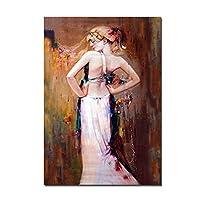 DIHEFAガールセクシーな背中の写真キャンバスに抽象的な油絵ポートレートポスターとプリントリビングルームの壁アート家の装飾 50x80cmフレームなし