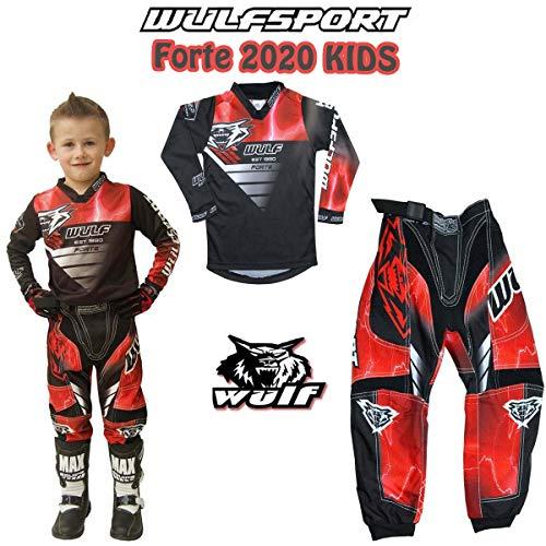 MOTORRADKOMBI Wulfsport Aztec 2019 Kinder Motorrad Anzug Motocross ATV Quad Cross Rennen MX Hose e Hemden Sport Bekleidung (Mehrere Farben) (Rot,5-7 Jahre, 22-Taille)